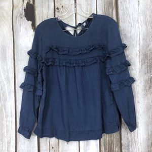 J Crew Tiered Ruffle Chambray Blouse Top